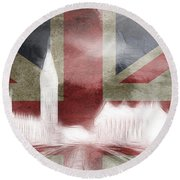 London Big Ben Abstract Round Beach Towel