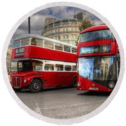 London Double Decker Buses Round Beach Towel