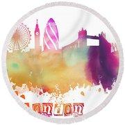 London England Skyline Pastel Round Beach Towel