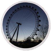 London Eye And New Moon Round Beach Towel