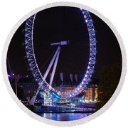 London Eye By Night Round Beach Towel