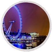 London Eye Night Glow Round Beach Towel