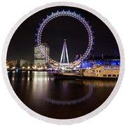 London Eye Night Round Beach Towel
