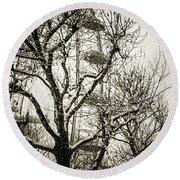 London Eye Through Snowy Trees Round Beach Towel