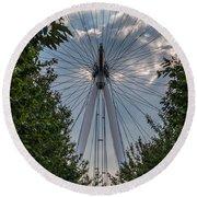 London Eye Vertical Panorama Round Beach Towel