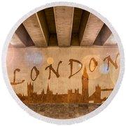 London Graffiti Skyline Round Beach Towel