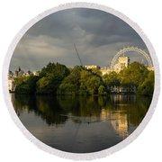 London - Illuminated And Reflected Round Beach Towel