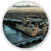 London - Palace Of Westminster Round Beach Towel