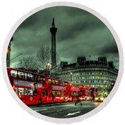 London Red Buses And Routemaster Round Beach Towel by Jasna Buncic