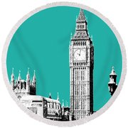 London Skyline Big Ben - Teal Round Beach Towel