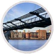 Millennium Bridge London 1 Round Beach Towel