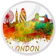 London Skyline Watercolor Round Beach Towel