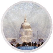 London St Pauls In The Fog Round Beach Towel by Pixel  Chimp