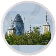 London Towers Round Beach Towel by Ann Horn