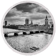 London Uk Big Ben The Palace Of Westminster In Black And White Round Beach Towel