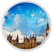 London Uk Big Ben The Palace Of Westminster Round Beach Towel