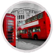London Uk Red Phone Booth And Red Bus In Motion Round Beach Towel