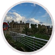 London Underground And The Tower Of London Round Beach Towel