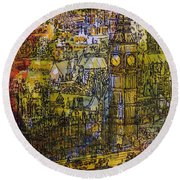 London, Westminster Pen & Ink With Wc On Paper Round Beach Towel