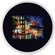 Londons Lights - Palette Knife Oil Painting On Canvas By Leonid Afremov Round Beach Towel