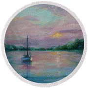 Lone Boat At Sunset Round Beach Towel