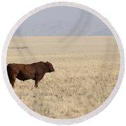 Lone Bull In Grassy Field Round Beach Towel