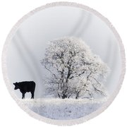 Lone Cow Round Beach Towel