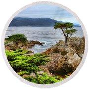 Lone Cypress By Diana Sainz Round Beach Towel