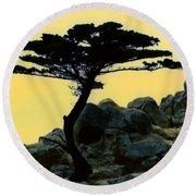 Lone Cypress Companion Round Beach Towel