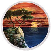 Lone Cypress Round Beach Towel