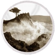 Lone Cypress Tree On  Midway Point Pebble Beach California Circa 1916 Round Beach Towel