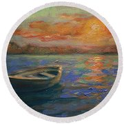 Lone Dinghy Round Beach Towel