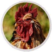 Lone Farm Rooster Portrait Round Beach Towel