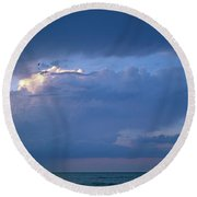 Lone Thunderstorm On Lake Erie Round Beach Towel
