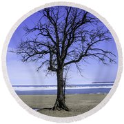Lone Tree At Fort Gratiot Light House  Round Beach Towel