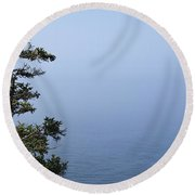 Lone Tree By The Water In Acadia National Park Round Beach Towel