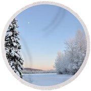 Lone Winter Spruce - Alaska Round Beach Towel
