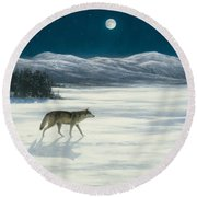Lone Wolf In Winter   Version 2 Round Beach Towel by Steve Swavely