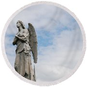 Lonely Angel Round Beach Towel