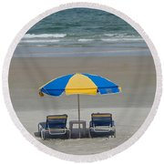 Lonely Beach Chairs Round Beach Towel
