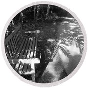Lonely Bench 5 Round Beach Towel