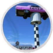 Lonely Diner With Pink Cadillac Round Beach Towel