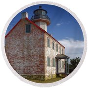 Lonely East Point Lighthouse Round Beach Towel
