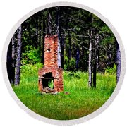 Lonely Fireplace Round Beach Towel