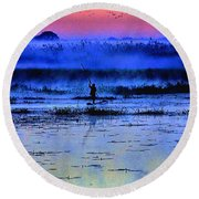 Lonely Fisher Round Beach Towel
