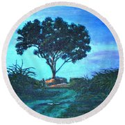 Lonely Giant Tree Round Beach Towel
