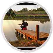 Lonely Guitarist Round Beach Towel