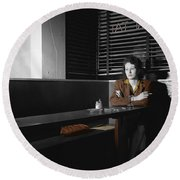 Lonely Lady Round Beach Towel