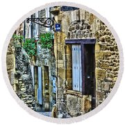 Lonely Lane In Sarlat France Round Beach Towel