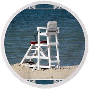 Lonely Lifeguard Station At The End Of Summer Round Beach Towel